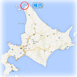 北海道の稚内の地図