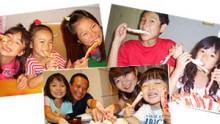 カニのむき身を食べている家族