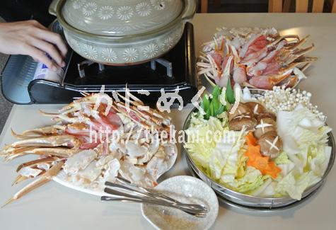 匠本舗のズワイガニむき身と鍋と野菜