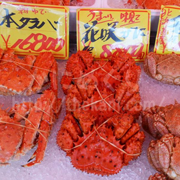 北海道のタラバガニ、花咲ガニ、毛ガニ