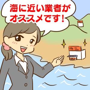 海に近いカニ通販業者をオススメしている女性